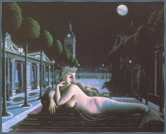 Paul Delvaux - Sirène à la pleine lune