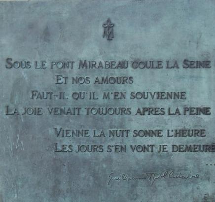 Pont Mirabeau - plaque