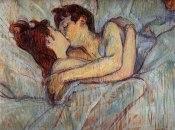 Couple baiser au lit - Toulouse-Lautrec