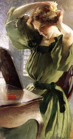 Alexander John White 1856-1915 - Jeune femme arrangeant ses cheveux