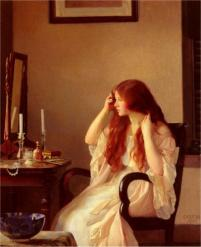 William McGregor Paxton - Femme lissant ses cheveux-1909