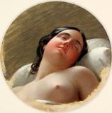 Anton Einsle (1801–1871) Autriche - Portrait de femme endormie