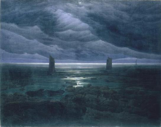 Caspar David Friedrich - Rivage avec lune cachée