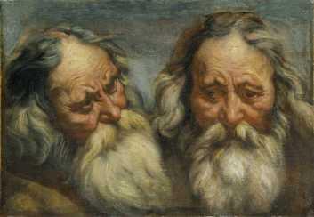 Jordaens - Double étude de tête de vieillard