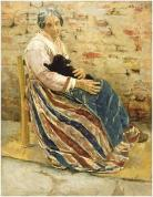 Max Liebermann - 1878 Vieille femme avec un chat -JP Getty Museum