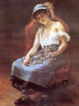 Renoir - La femme au chat 1880