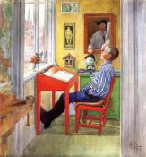 Carl Larsson - Esbjorn doing his homework - 1912