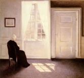 Vilhelm Hammershoi - Femme lisant à la fenêtre