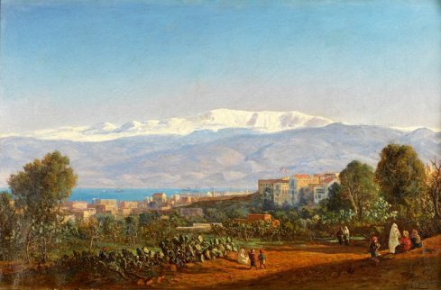 Louis Lottier - Vue générale de Beyrouth depuis Wadi Abou Jémil - 1860