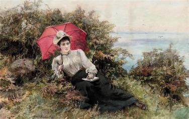 Arthur Hopkins (british-1848-1930) – Jeune femme lisant près de la mer-1892