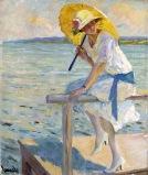 Edward Cucuel (américain 1875-1954) - - The yellow parasol