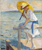 Edward Cucuel (américain 1875-1954) - - The yellow parasol