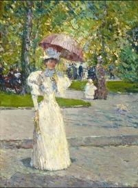 Frederick Childe Hassam - Femme à l'ombrelle dans un parc 1891