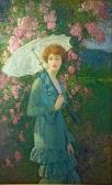 George Laurence Nelson (1887-1978 Américain)- Helen in her garden