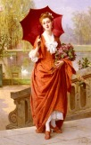 Joseph Caraud (1821-1905) - The red parasol