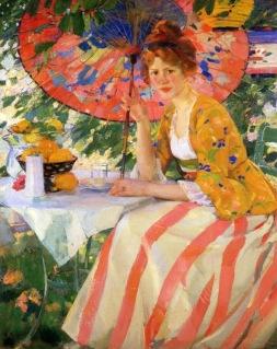 Karl Albert Buehr -german-painter - Jeune fille à l'ombrelle -1910-