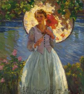 Karl Albert Buehr - Young woman with parasol