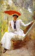 Tom-Roberts (1856-1931) - Lady with a parasol -Private-Collection