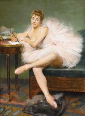 Pierre Carrier Belleuse - Danseuse écrivant - 1890