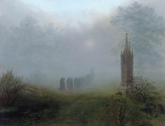 Ernst Ferdinand Oehme - Procession dans le brouillard 1828 - Galerie Neue Mester Dresde