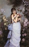 Auguste Toulmouche- Jeune femme dans un jardin de roses