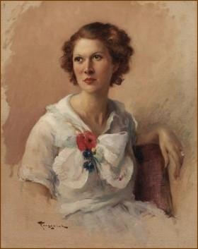 Fernand Toussaint (1873-1956) - Jeune femme à la rose