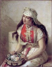 Jean-François Portaels (1818-1895) - Jeune marocaine aux roses