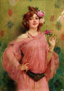 Marie Felix Hippolyte Lucas (1854-1925) - Beauty in pink