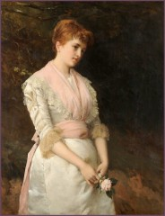 William Oliver (1823-1901) - Femme à la rose