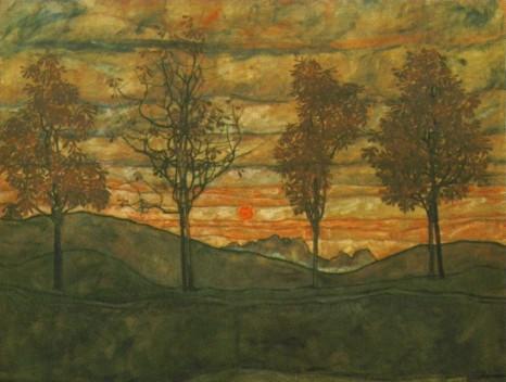 Egon Schiele - Quatre arbres - 1917