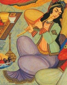 Joueuse de ney (peinture sur bois du Palais Hasht Behesht à Ispahan (Iran) 1669.