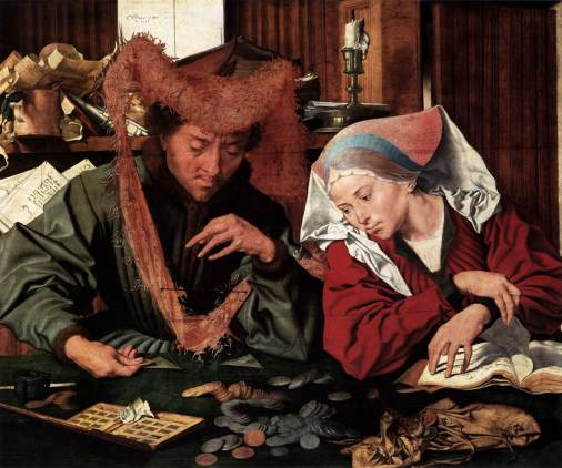 Marinus Claesz. van Reymerswaele -Le changeur et sa femme (1539) Madrid Prado