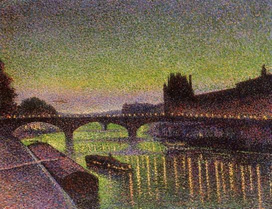 Maximilien Luce - Louvre et pont du Carrousel de nuit