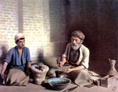 Mohammad Ghaffâri (Kamâl-ol-Molk) - L'orfèvre de Bagdad et son apprenti, 1902