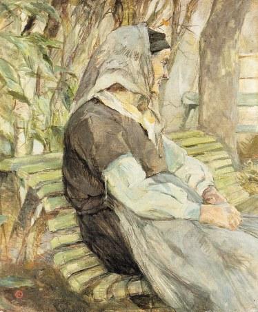Toulouse-Lautrec - Vieille dame sur un banc