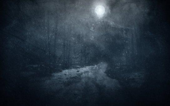 Lune neige forêt
